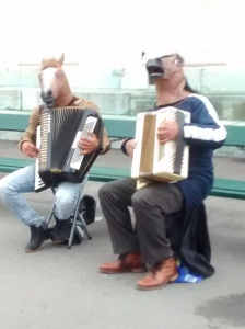 donkeys playing the accordion