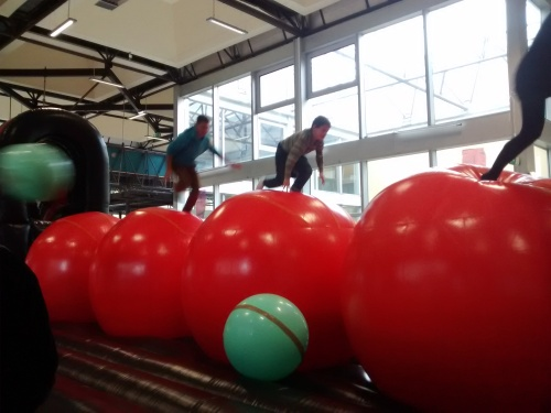 The smaller green balls were for throwing at people trying to traverse the giant red balls.  They got a lot of use.